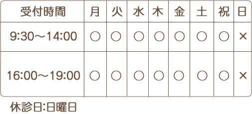 宝塚市おはな整骨院受付時間9:00-13:00 16:00-20:00休診日土曜午後・日曜